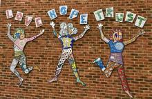 London secondary school Playground wall mosaic