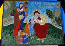 School mosaic art created with St Mary's RC Primary School, Clayton-le-Moors, Lancashire