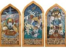 Mosaic 3 panel screen based on story of Jacob's Ladder