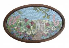 Exhibition mosaic featuring a garden of flowers with a path meandering through