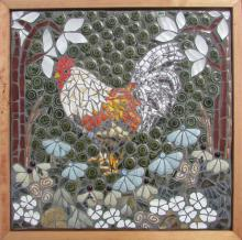 wall art in mosaic featuring a chicken and flowers