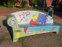 Glass mosaic bench