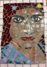 A lady in a pink veilLady with a pink veil mosaic 15cm by 20 cm on marine ply using ceramic and glass tiles, millfori and old jewellery