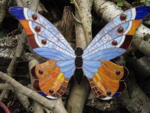 Butterfly mosaic glass