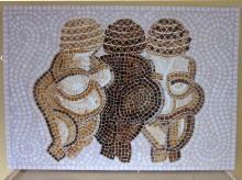Three Fat Ladies mosaic, glass