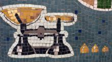 mosaic, weighing scales, shop sign, Alison Mac Cormaic