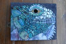 Iguana - Mosaic, stone, glass, turquoise on wedi with thinset