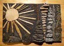 Rocks, Slate, Thin-set, copper wire, copper BB's, Millefiori