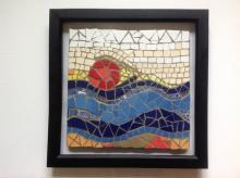 Sun Sand Sea in mosaic. Blue Sea with Sun
